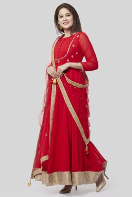 Fiery Red Georgette Floor Length Kurti with Red Mirror and Stone Dupatta