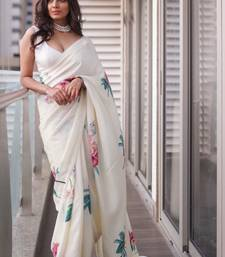Off white printed satin saree with blouse