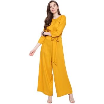 Yellow plain Rayon Jumpsuit
