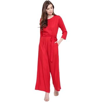 Red plain Rayon Jumpsuit