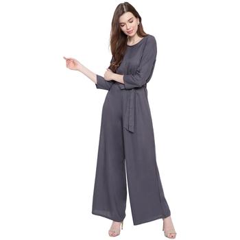 Grey plain Rayon Jumpsuit