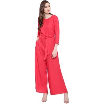 Pink plain Rayon Jumpsuit