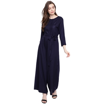 blue plain Rayon Jumpsuit