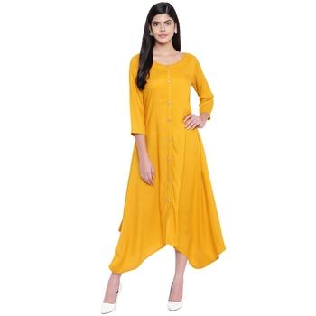 Yellow plain Rayon dresses