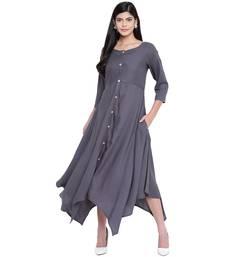 Grey plain Rayon dresses
