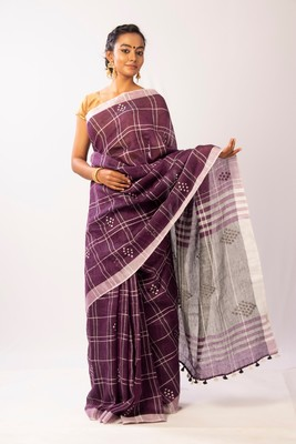 Purple Linen woven  Bengal  Handloom  saree with blouse