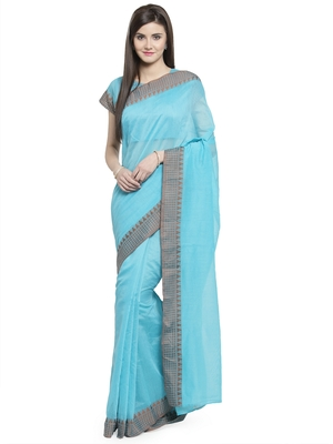 turquoise printed linen saree with blouse