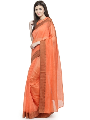 orange printed linen saree with blouse