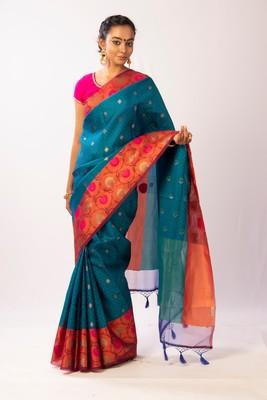 Blue Woven Banarasi Cotton Silk saree with Blouse