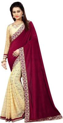 Maroon embroidered brasso saree with blouse