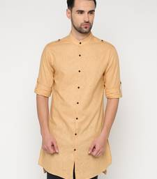 Beige plain cotton men-kurtas