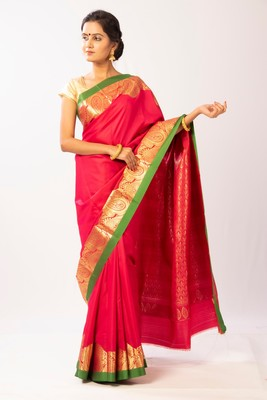 Pink hand woven silk blend saree with blouse