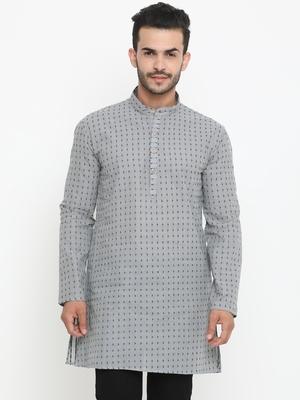 Grey Printed Cotton Men Kurta