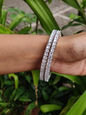 Silver   american diamonds bangles