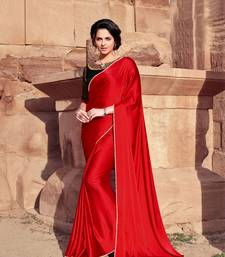 red plain satin saree with blouse
