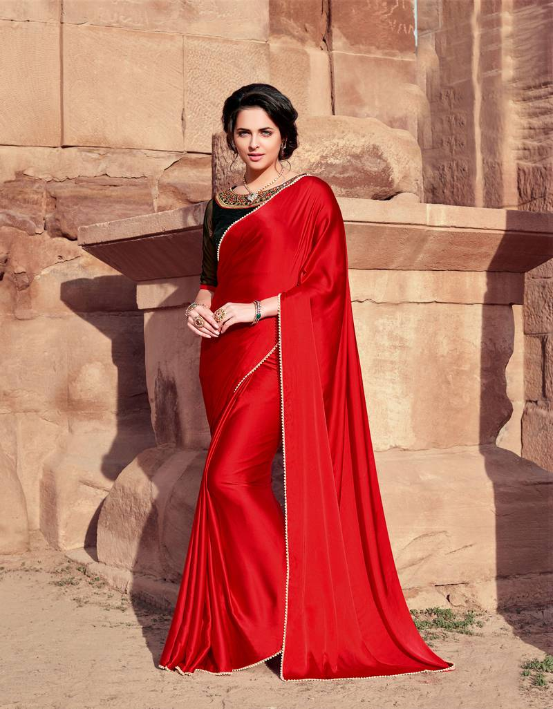 Red Plain Satin Saree With Blouse Shaily 2997194