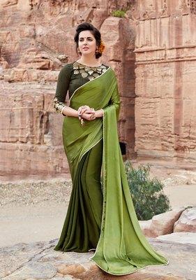 olive plain satin saree with blouse