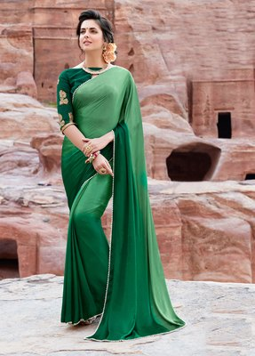 green plain satin saree with blouse