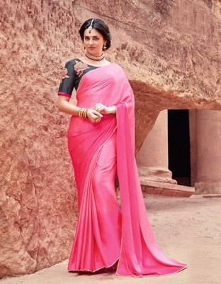 pink plain satin saree with blouse