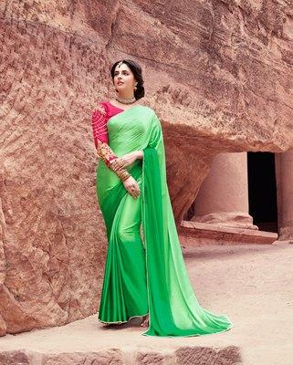 green plain satin saree with blouse