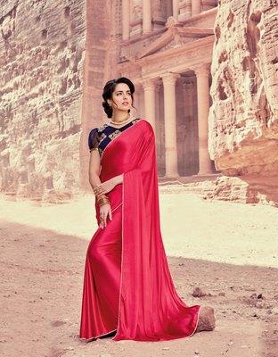 peach plain satin saree with blouse