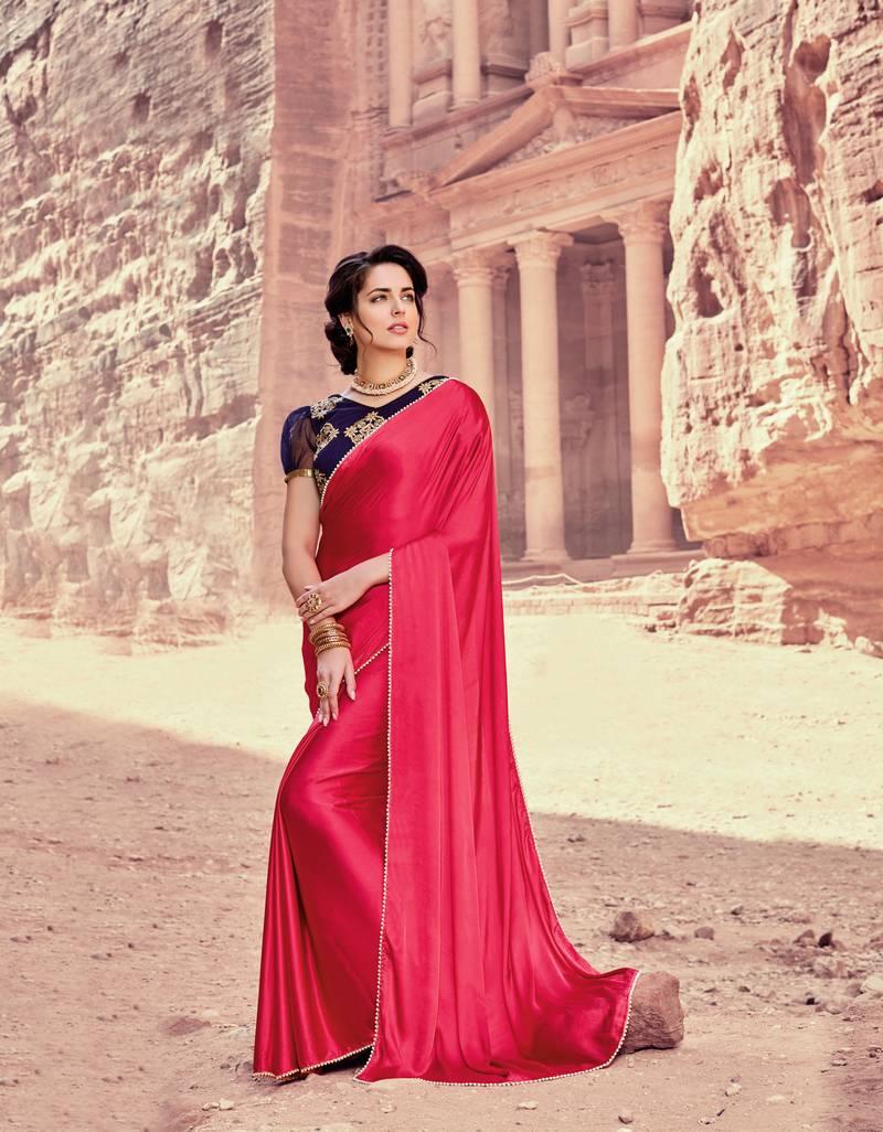 peach plain satin saree with blouse - Shaily - 2997209