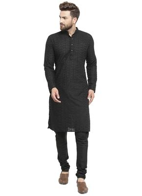 Black Cotton Chikankari Kurta Pajama