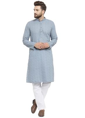 Designer Blue Cotton Kurta Pajama