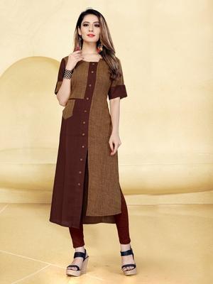 Brown printed rayon long-kurtis