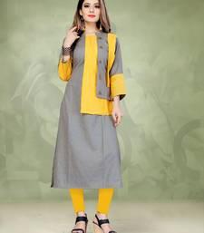 Light-yellow plain cotton long-kurtis