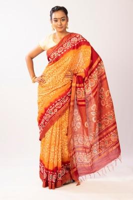 Mustard Batik Printed Bengal Cotton Silk Saree With Blouse