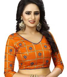 Orange Embriodered Fancy Fabrics Unstiched Blouse Piece.