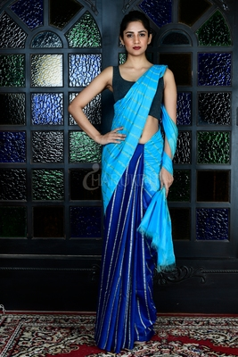 SKY BLUE AND NAVY BLUE BLENDED COTTON SAREE WITH GHEECHA STRIPES AND PALLU