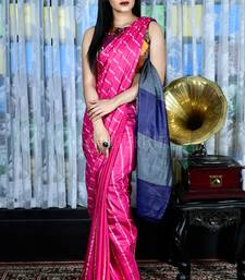 CANDY PINK BLENDED COTTON SAREE WITH GHEECHA STRIPES AND BLUE PALLU