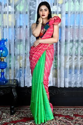 PULSER PINK AND PARROT GREEN BLENDED COTTON SAREE WITH GHEECHA STRIPES AND PALLU