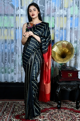BLACK BLENDED COTTON SAREE WITH GHEECHA STRIPES AND RED PALLU