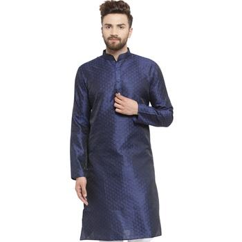 Brocade Blue Linen Kurta For Men