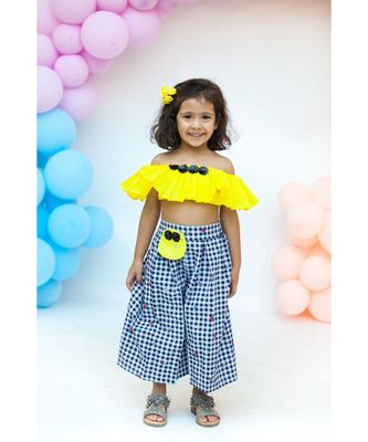 Yellow Frill Top with Plazo