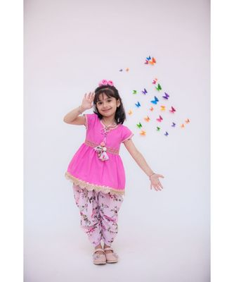 Pink Kurti with Printed Dhoti for girls
