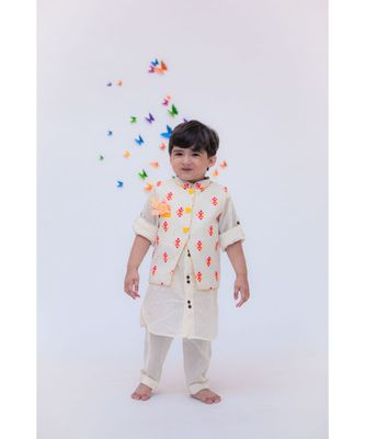 Multi Colour Bootie Nehru Jacket with Kurta & Pant