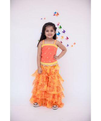 Orange Sequence Top with Orange Lehriya Sharara