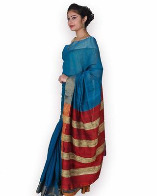 Blue & Red Linen Saree with Zari Weave