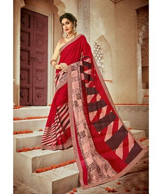 multicolor embroidered cotton_silk saree with blouse