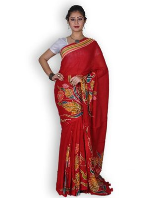 Red Linen Saree with Floral Hand Painting