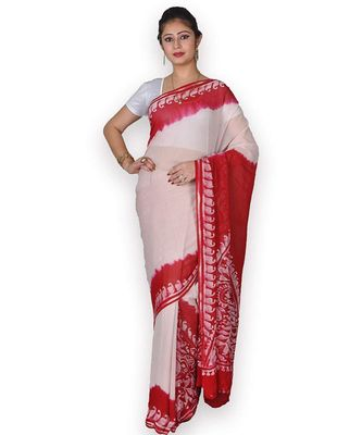 Red & White Georgette Saree With Batik Work