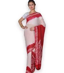 Red & White Georgette Saree With Batik Work