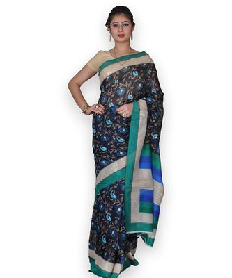 Blue Linen Saree with Floral Jaal