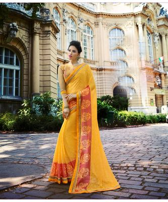 yellow printed brasso saree with blouse