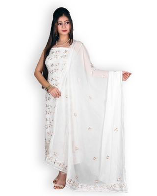 Off-White Pure Georgette Chikankari & Gota Patti Work