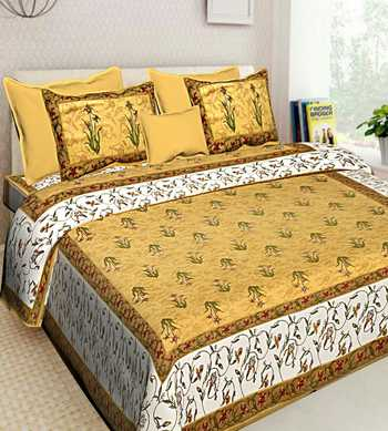 Hand Screen Printed Indian Handmade Cotton Bedding Bedspread Bedsheet With 2 Pillow Cover Queen Size Bedcover
